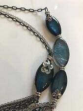 BRIGHTON SHELL SHIMMER Blue Silver Long NECKLACE Retail $88 New