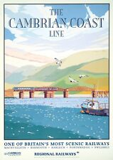 Cambrian coast Train Railway Photo Poster Print