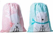 ADAIRS set of 2 Santa sacks BEAR & REINDEER 50x70cms PRESENT BAG mint & pink