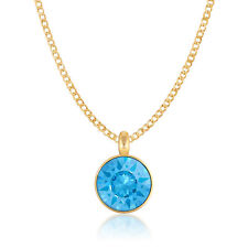 Pendant Necklace with Blue Aquamarine Round Crystals from Swarovski Gold Plated