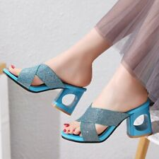 Women's Sandals Block Heels Sequins Peep Toe Slippers Party Shoes Plus size #642
