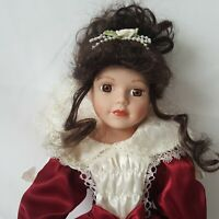 """Victorian Style Doll 16"""" Inch Dolls Red Dress Satin Lace Vintage Dress"""