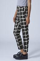 Topshop NEW Check Crepe Windowpane Cigarette Trousers RRP £42 Size 6,8,10,12