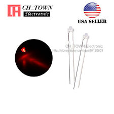 100pcs 1.8mm Diffused White Color Red Light Round Top LED Emitting Diodes USA