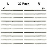 """Left &Right Swage Lag Screws T316 Stainless Steel Hardware For 1/8""""Cable Railing"""