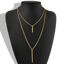 Double Layer Bohemian Gold Plated Long Chain Vertical Drop Bar Pendant Necklace