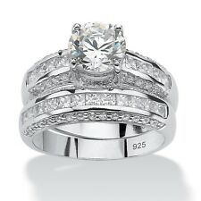 WEDDING ENGAGEMENT RING SET ROUND PLATINUM OVER STERLING SILVER  6 7 8 9 10