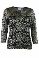 Black & Gold Womens Ornate Floral Stretch Lace Overlay Top Blouse 3/4 Sleeve