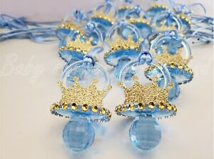 12 Prince Pacifier Necklace Baby Shower Favor Prize Game It's a Boy Decorations