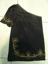 MONSOON FUSION black gold one shoulder embellished beads occasion dress Size 14