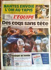 L'Equipe Journal 19/10/1992; Nantes envoie l'Om au Tapis/ Xv de France-Springbok