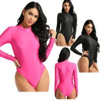 Womens Bodycon Bodysuit Long Sleeve Jumpsuit Romper Leotard Beach Swimwear Tops
