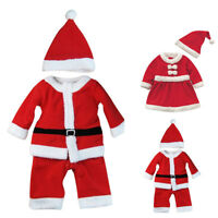 Kids Boys Girls Christmas Santa Claus Dress Set Outfit Baby Costume Xmas Clothes