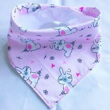 Baby, Bandana Dribble Bib, handmade, Fun, Rabbits on pink