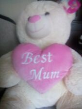 Teddy bear 80cm BEST MUM LOVE HEART NEW with labels