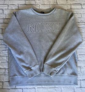 Vintage Nike Sweatshirt SPELL OUT Grey Mens Large