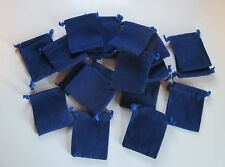 """Wholesale Lot of 50 Royal Blue Velveteen Drawstring Bags, Pouches 2"""" x 2.5"""""""
