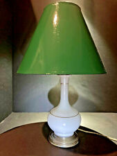French White Opaline Art Glass 18� Boudoir or Table Lamp with Gilt Trim
