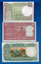 India One Two Five Rupees Rig Tiger Farmer a/Uncirculated Banknotes Set # 3