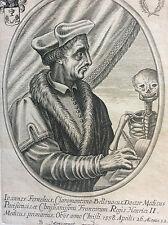 Jean Fernel Joannes Fernelius médecin français gravure par B. MONCORNET XVIIème