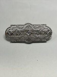 Antique Edwardian Platinum and 14K Gold Diamond Brooch