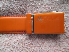 Orange Mission Belt Men's Leather Ratchet Belt, 35mm Solid Collection - 118.5cms