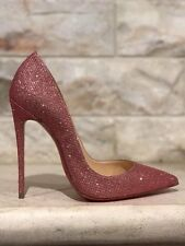 NIB Christian Louboutin So Kate 120 Pink Poudre Glitter Tisse Heel Pump Shoe 39