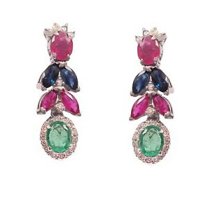 Solid 925 Sterling Silver Natural Ruby Hanging Cluster Earrings For Women