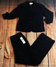 Jones New York 2 Piece Blazer Pants Suit Womens Size 12 Solid Striped Pattern