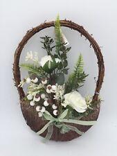 """Handmade Wreath Front Door Window Hanging 28cm 11"""" with White Artificial Flower"""