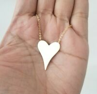 14K Yellow Gold Love Heart Charm Pendant Chain Necklace