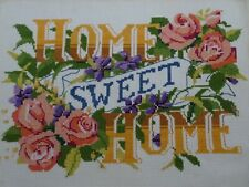 Vintage Completed Counted Cross Stitch Sampler Home Sweet Home w Roses Violets