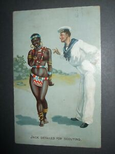 1912 BLACK COMIC ROYAL NAVY SCOUT SCOUTING JACK LOCAL LADY BARE BOOBS HUMOUR