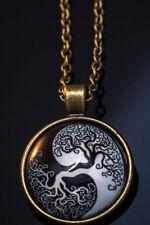 YIN & YANG TREE OF LIFE BUDDHIST STYLE  Pendant Necklace, Gift, Cabochon Brass