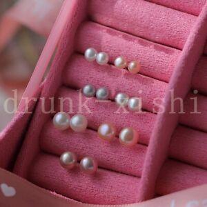 7pcs Classic 7-8mm 8-9mm 9-10mm White Pink Purple Gray Akoya Pearl Stud Earrings