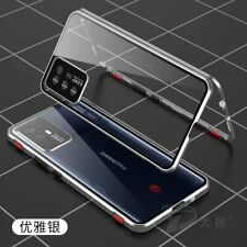For ZTE nubia Red Magic 6R, Metal Magnet Buckle Bumper Double Glass Case Cover