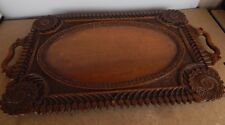 Antique Hand Carved Colonial Tray Well Carved hardwood Dinner serving 60cm x33cm