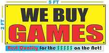 WE BUY GAMES Banner Sign Yellow with Red & Black