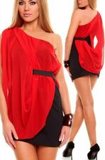 SEXY MISS Femmes One Shoulder Double Mousseline Mini Robe XS/S rouge/noir Nouveau Top