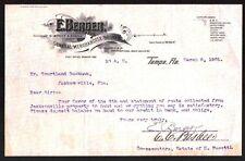 E Berger General Merchandise Broker Tampa FL 1901 Vintage Letterhead Rare