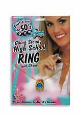 FLIRTIN' WITH THE 50's GOING STEADY HIGH SCHOOL RING ON CHAIN COSTUME ACCESSORY