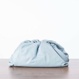 BOTTEGA VENETA 2700$ The Pouch Clutch Bag In Ice Blue Nappa Leather