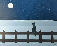 """Gabriel Donnet - """"Le chat et la lune"""" -Tableau naïf original-"""