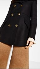 Zara Short Double-breasted Black Coat/jacket. Winter/fall Collection. Size M.