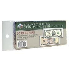 20 REGULAR DELUXE PVC CURRENCY SLEEVE BILL HOLDERS PAPER MONEY SEMI RIGID