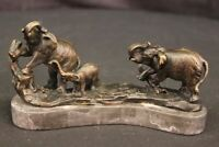 Hot Cast Bronze Elephants Group On Marble Statue Sculpture Lost Wax Method GIFT