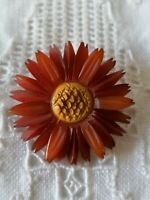 Antique Edwardian Carved Early Plastic Celluloid? Red Daisy Flower Pin Brooch