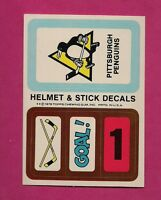 1979-80 TOPPS PENGUINS  HELMET AND STICK DECALS INSERT NRMT+ (INV# 8258)
