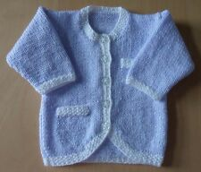 """NEW Hand Knitted Baby Jacket / Cardigan - Lilac & White - 3-6 months - Chest 18"""""""