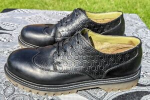 Chunky cleated black leather oxford brogues, UK 6, Moshulu, work school shoes